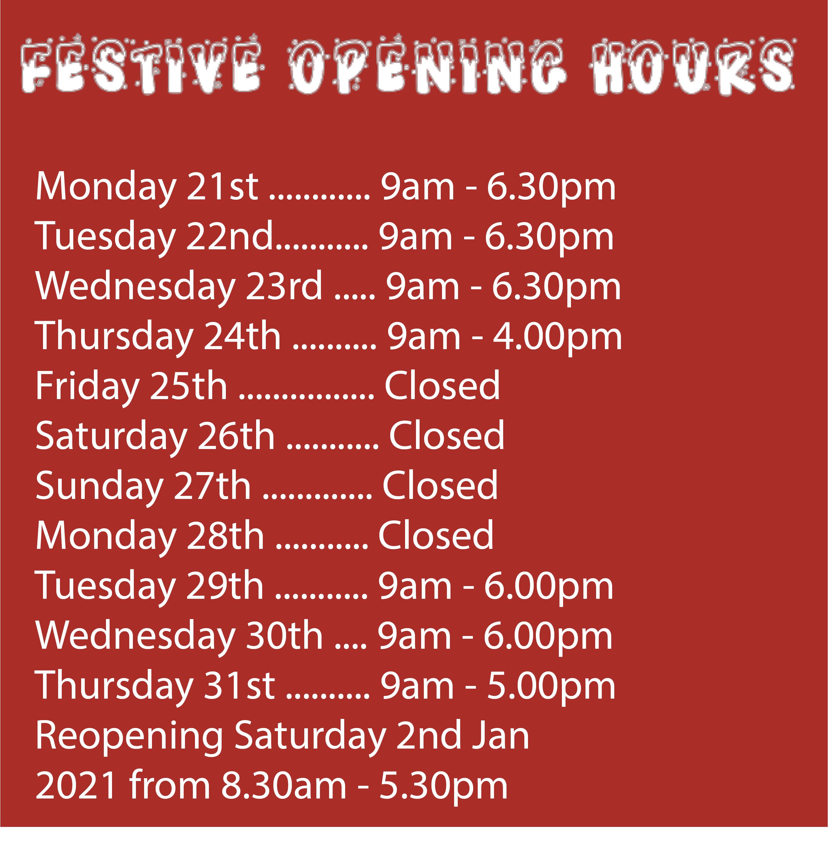 Seasonal Opening Hours